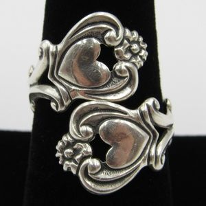 Jewelry - Vintage Size 9 Sterling Floral Heart Spoon Ring